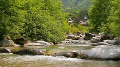 Rapid stream of a mountain river. Stock Footage