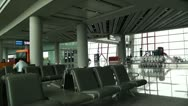 Stock Video Footage of Beijing Capital International Airport Terminal Waiting Hall 01