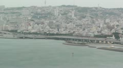 Okinawa City view from Airplane 02 handheld Stock Footage