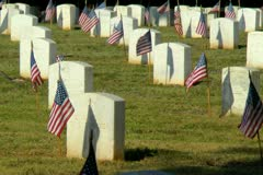Flags on unknown soldier grave and others in military cemetery Stock Footage