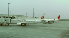 Okinawa Naha Airport 05a jal Stock Footage