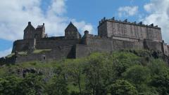 Side view of the Castle of Edinburgh Stock Footage