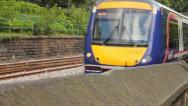 Scottish train passing Stock Footage
