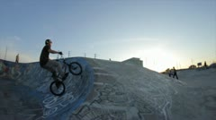 BMXer slow motion barspin 360 Stock Footage