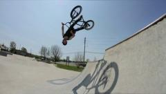Extreme Sport Amazing BMX Backflip Trick Stock Footage