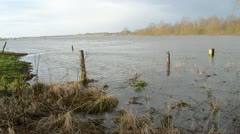 Fields flooded by high water Stock Footage