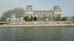 Hotel de Ville and Tour boat. Paris. Stock Footage