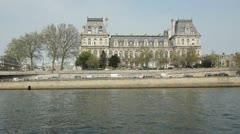 Hotel de Ville and Tour boat. Paris. Stock Footage