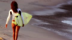 Cool girl surfer mexico Stock Footage