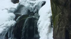 Winter waterfall. Shot with slider. Slow-motion. - stock footage