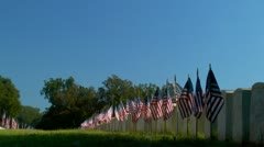 Flags displayed on military cemetery graves at sunrise under blue sky - stock footage