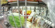 2K 30p At the grocery store behind the cart time lapse Stock Footage