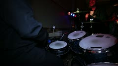 Live event band drummer and guitarist low lighting Stock Footage