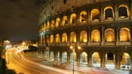 Stock Video Footage of 4K UHD Rome: the Colosseum time lapse night