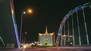 Heihe City Night Bridge with Motorcycles Stock Footage