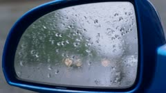 Side mirror with sound of rain.rear view mirror Stock Footage