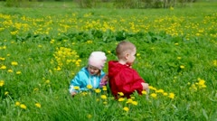 Boy and small girl  on meadow with dandelion Stock Footage