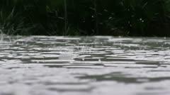 Rain on a grey table Stock Footage