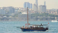 Typical Turkish gulet yacht Stock Footage