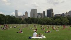 Central Park sheep meadow tilt down wide 24p New York City picnic Stock Footage