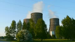 Coal-burning power plant in spring Stock Footage