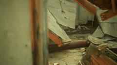 Urban decay Decrepit building junk ruins Stock Footage
