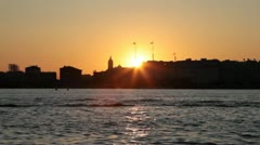 Sunset silhouette of St. Petersburg, Russia Stock Footage