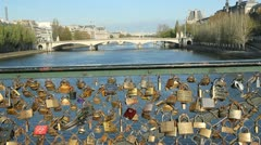 Pont des Arts Padlocks. Stock Footage