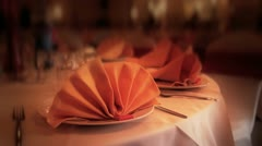Fine Dining - Set Table & Napkins - Panning Shot HD Stock Footage