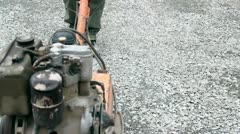Soil Compacting at Construcion Site Stock Footage
