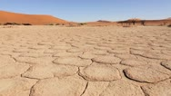 Stock Video Footage of Sossusvlei sun-baked earth tracking shot