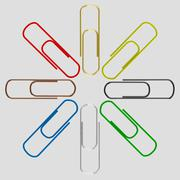Set colorful paper clips - isolated on grey background Stock Photos