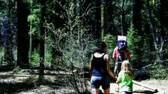 Family Hiking At Calaveras Big Trees State Park - stock footage