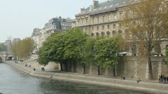 North Bank of the Seine with trees. Stock Footage