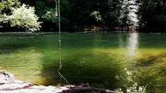 Sierra Nevada Mountain River With Rope Swing 2 Stock Footage