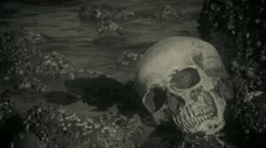 Human skull on the rocks old film 1 Stock Footage