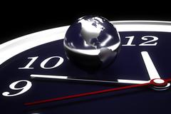 World time..surface map from http://visibleearth.nasa.gov/view set.php?catego Stock Photos