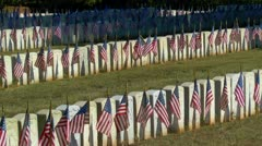 Flags displayed on each graves in military cemetery at sunrise - stock footage