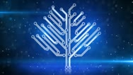Blue electronic hi-tech tree growing loop Stock Footage