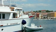 Stock Video Footage of Boats moored in the harbor at Rovinj Croatia