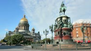 The monument to Nicholas I and St. Isaac's Cathedral Stock Footage