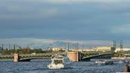 Palace Bridge and Kunstkamera Stock Footage