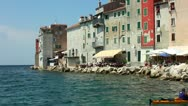 Stock Video Footage of Sea front houses and restaurants at Rovinj Croatia.