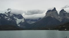 Torres del Paine Lago Pehoe with car s30 Stock Footage