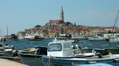 Boats moored in the harbor at Rovinj Croatia - stock footage