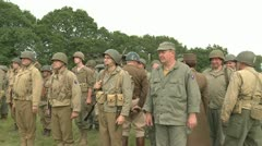 US Army soldiers inspected by General Patton Stock Footage