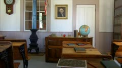 One Room School Interior 1- Altaville Grammar School 1858 Stock Footage