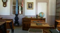One Room School Interior 1- Altaville Grammar School 1858 - stock footage