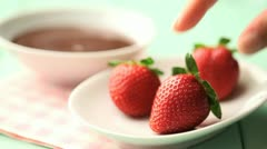 Chocolate dipped strawberries Stock Footage