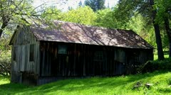 Stock Video Footage of Old Mountain Shack Or Cabin